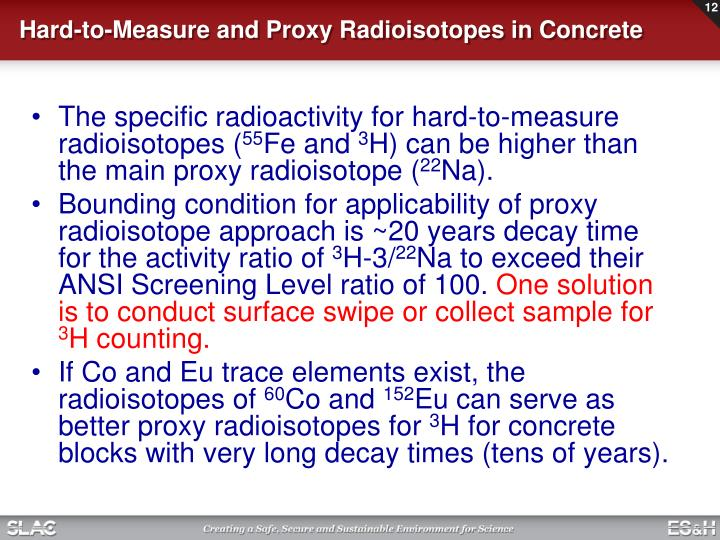 Hard-to-Measure and Proxy Radioisotopes in Concrete