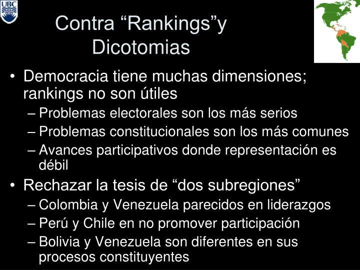 """Contra """"Rankings""""y Dicotomias"""