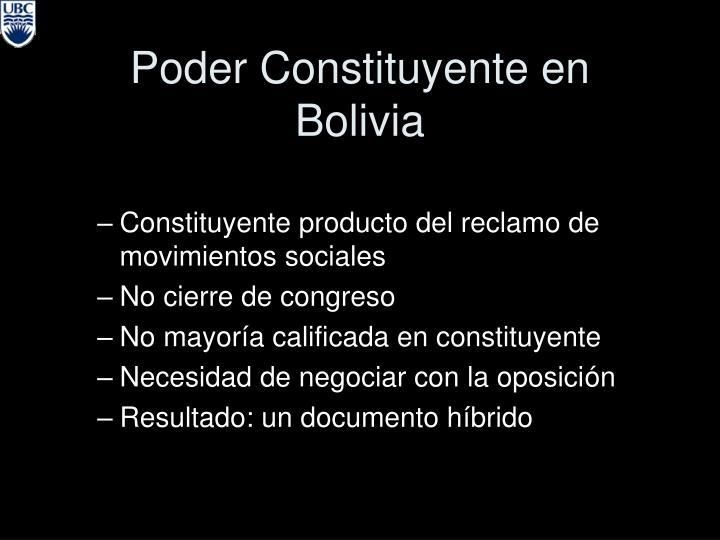Poder Constituyente en Bolivia