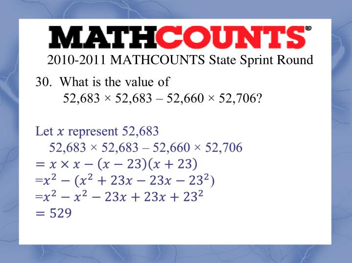 2010-2011 MATHCOUNTS State Sprint Round