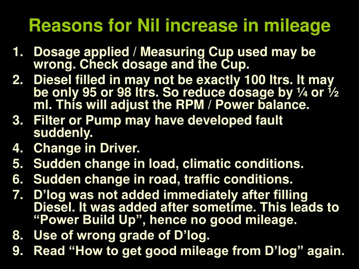 Reasons for Nil increase in mileage