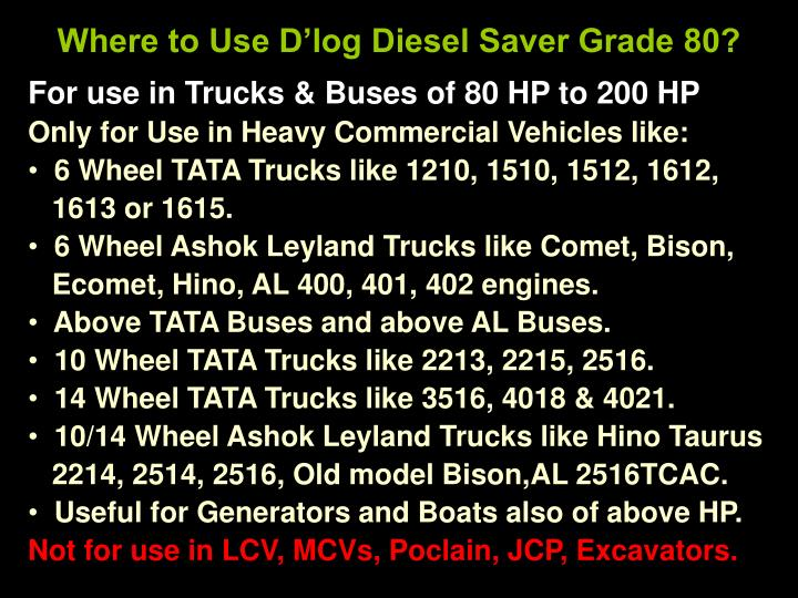 Where to Use D'log Diesel Saver Grade 80?