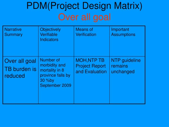 PDM(Project Design Matrix)