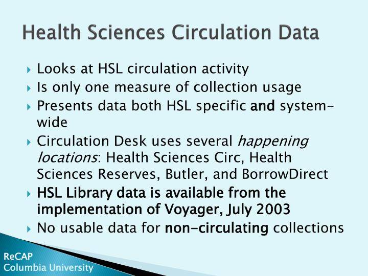 Health sciences circulation data