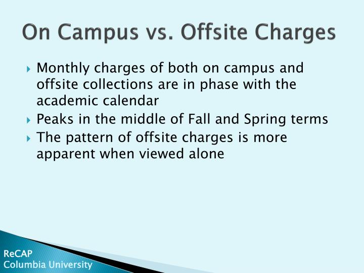 On Campus vs. Offsite Charges
