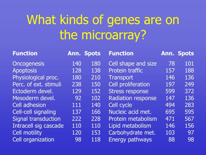 What kinds of genes are on the microarray?