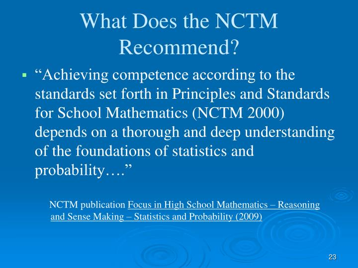 What Does the NCTM Recommend?