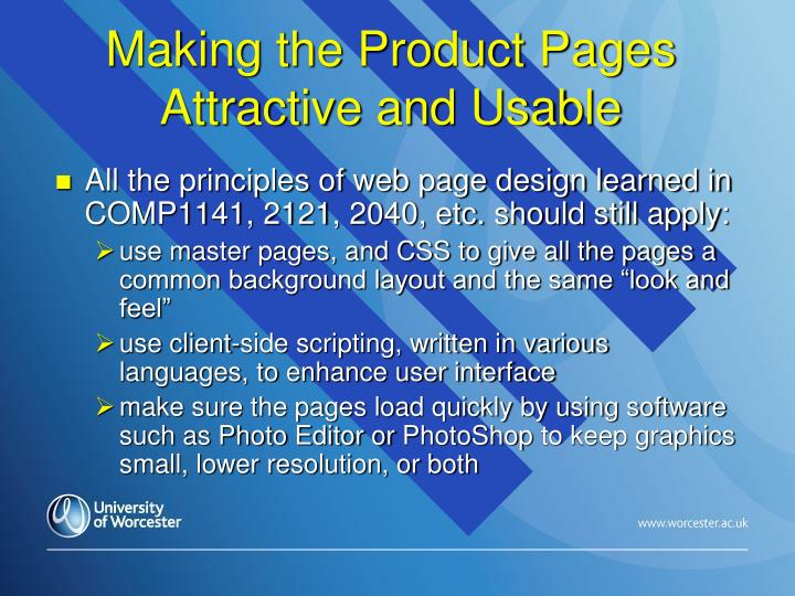 Making the Product Pages Attractive and Usable
