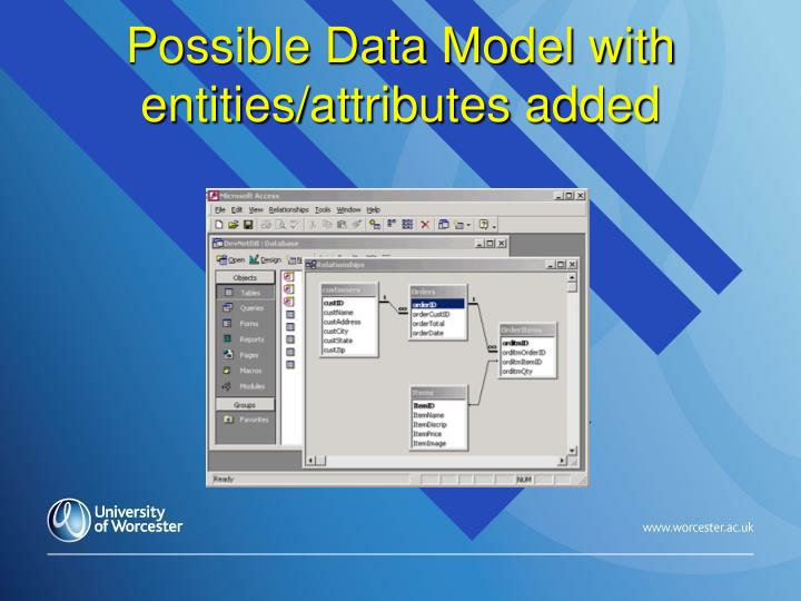 Possible data model with entities attributes added