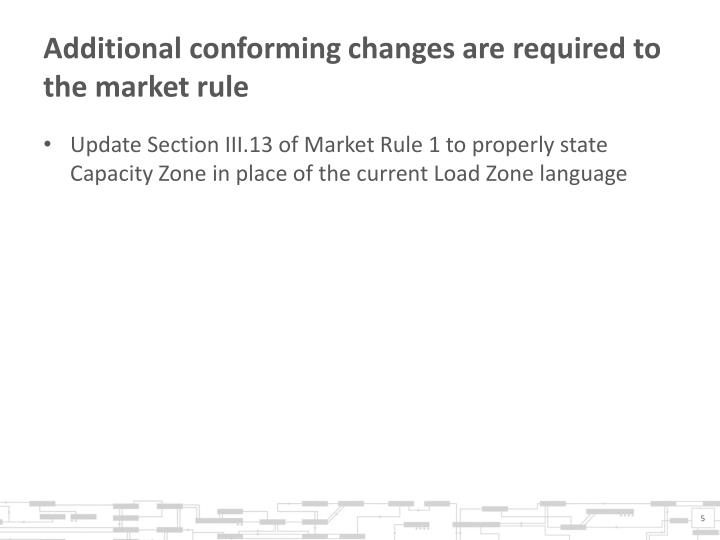 Additional conforming changes are required to the market rule