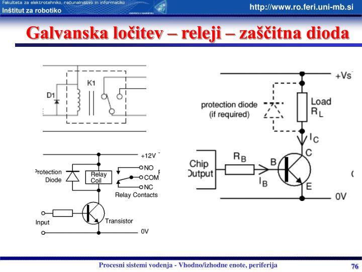 Galvanska ločitev – releji – zaščitna dioda