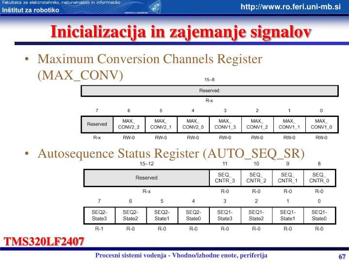Inicializacija in zajemanje signalov