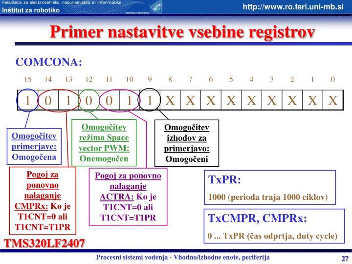Primer nastavitve vsebine registrov