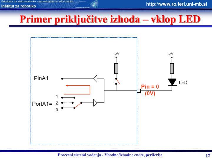 Primer priključitve izhoda – vklop LED