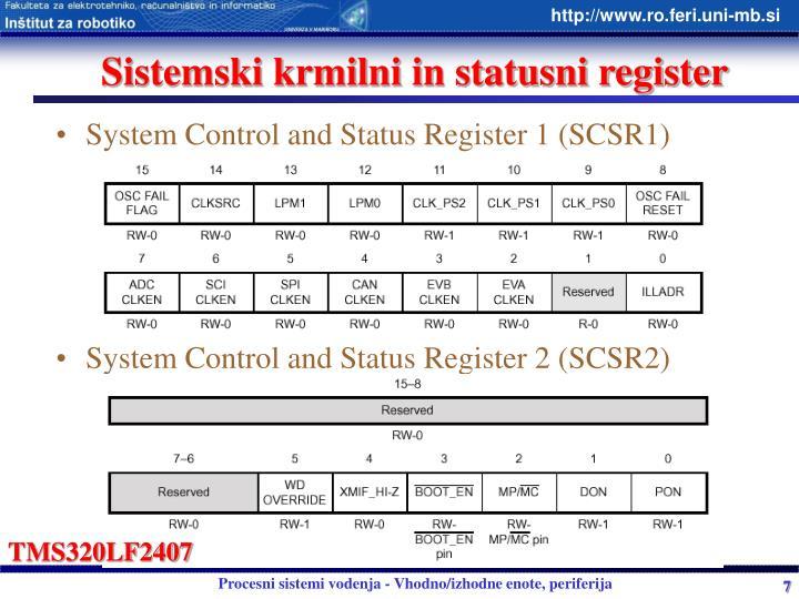 Sistemski krmilni in statusni register