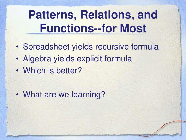 Patterns, Relations, and Functions--for Most