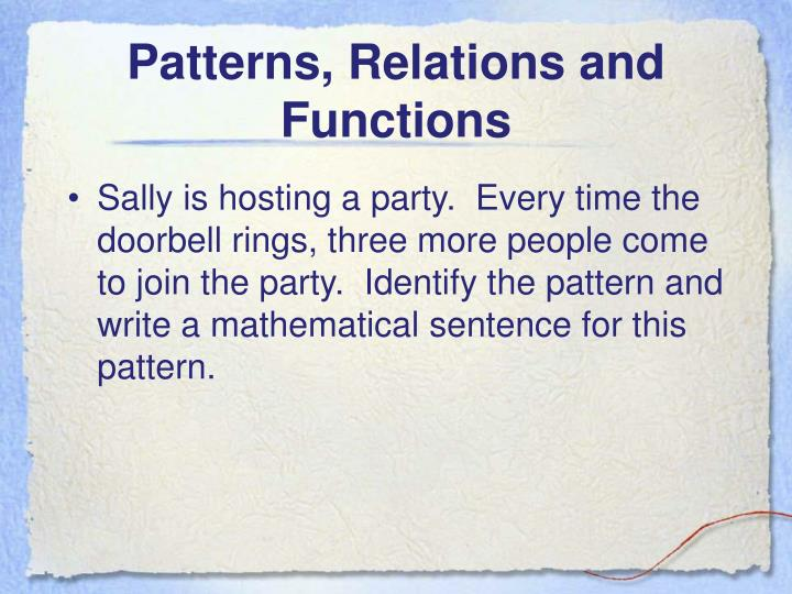 Patterns, Relations and Functions