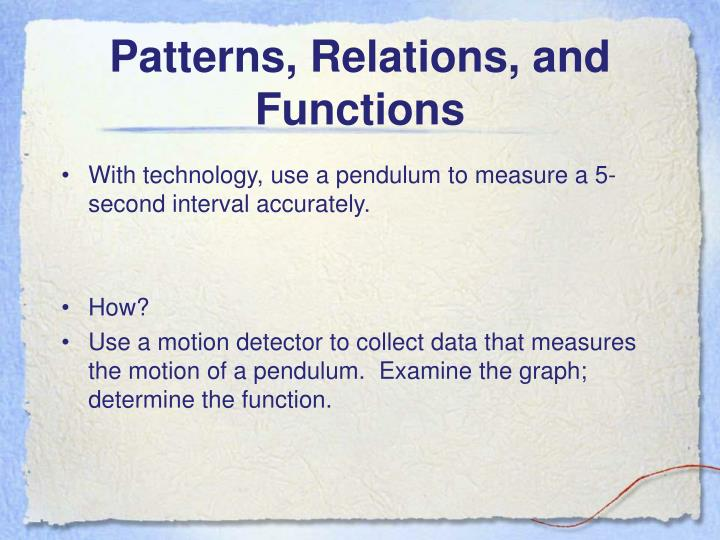 Patterns, Relations, and Functions