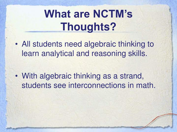 What are NCTM's Thoughts?