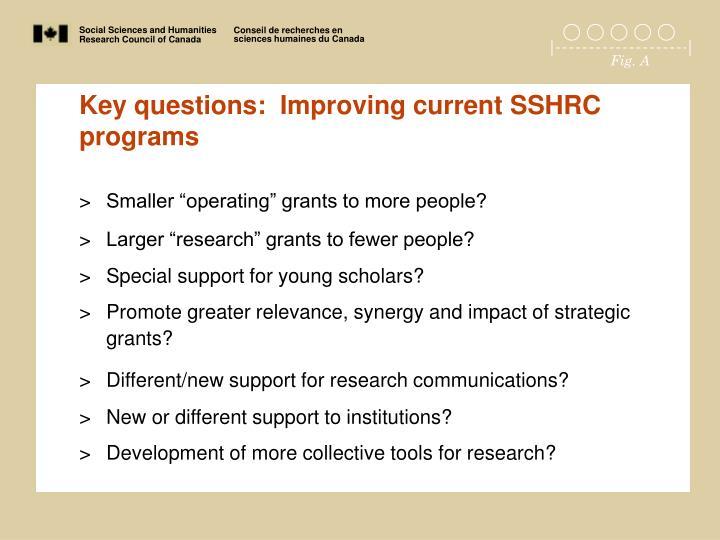 Key questions:  Improving current SSHRC programs