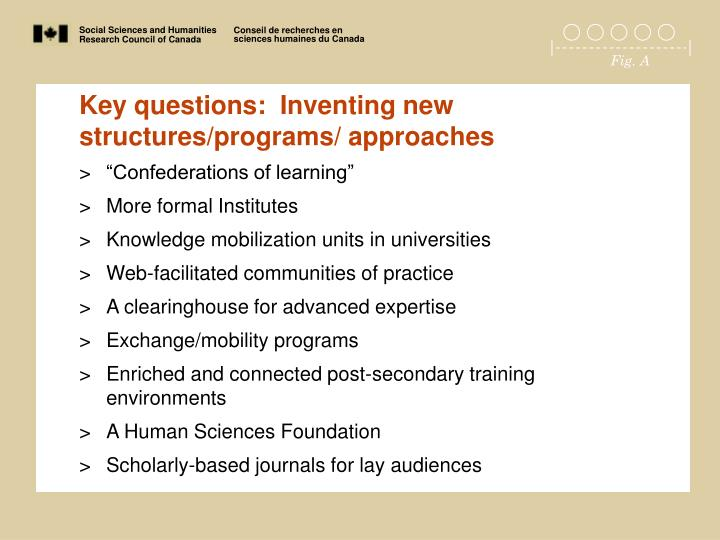 Key questions:  Inventing new structures/programs/ approaches