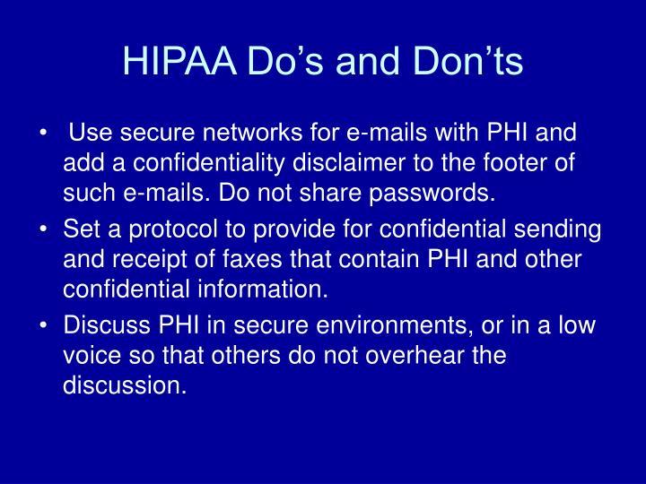 HIPAA Do's and Don'ts