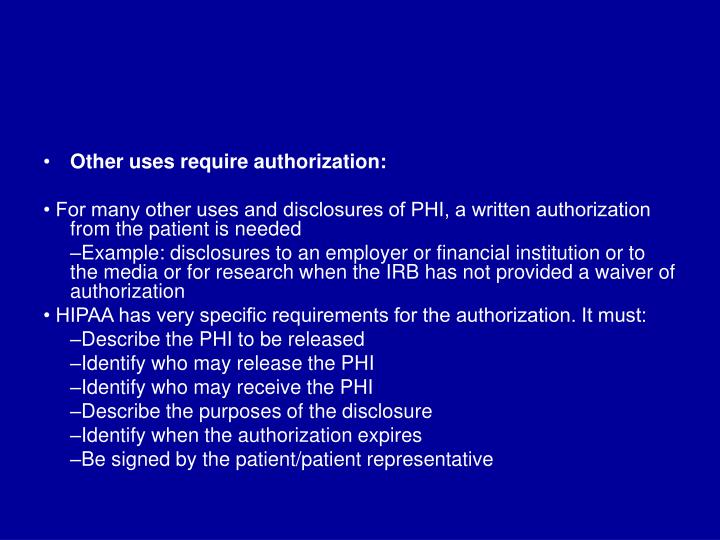 Other uses require authorization: