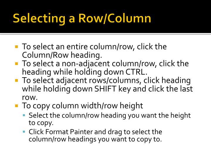 Selecting a Row/Column
