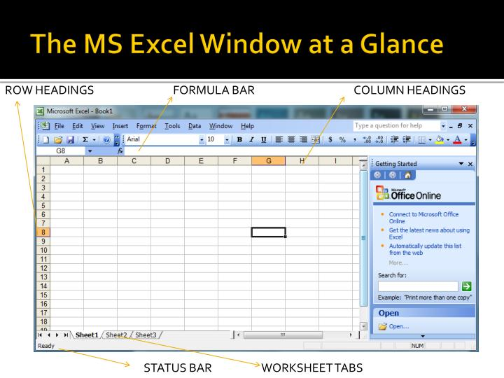 The MS Excel Window at a Glance