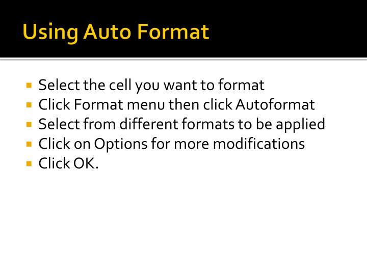 Using Auto Format
