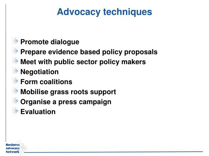 Advocacy techniques