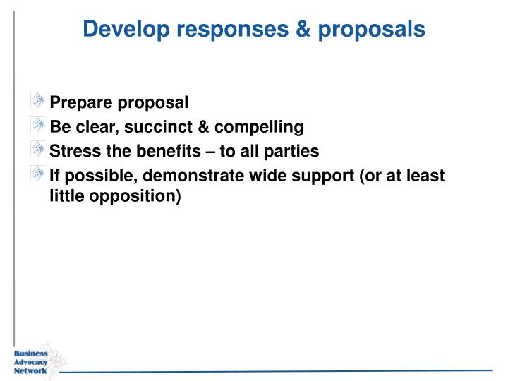 Develop responses & proposals
