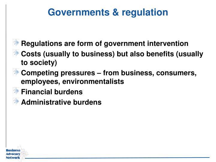 Governments & regulation