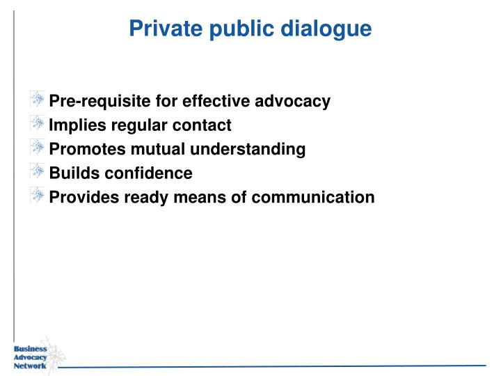 Private public dialogue