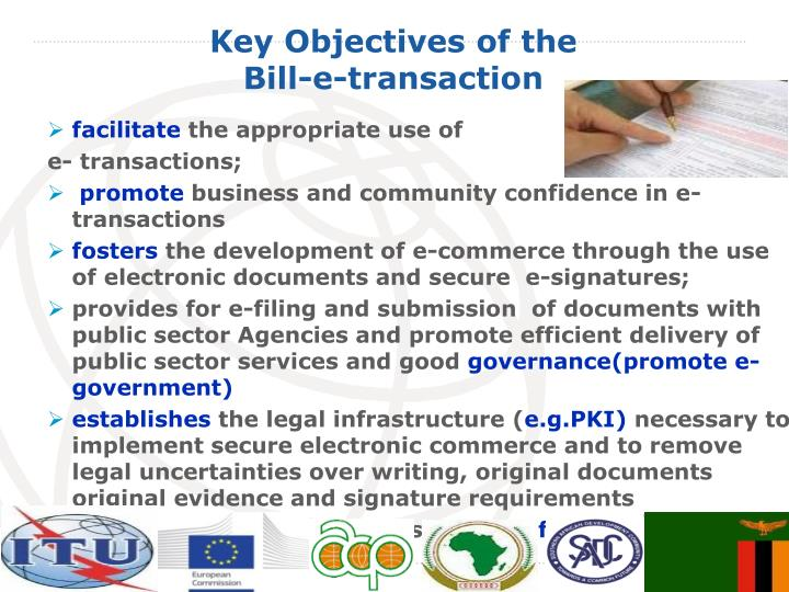 Key objectives of the bill e transaction