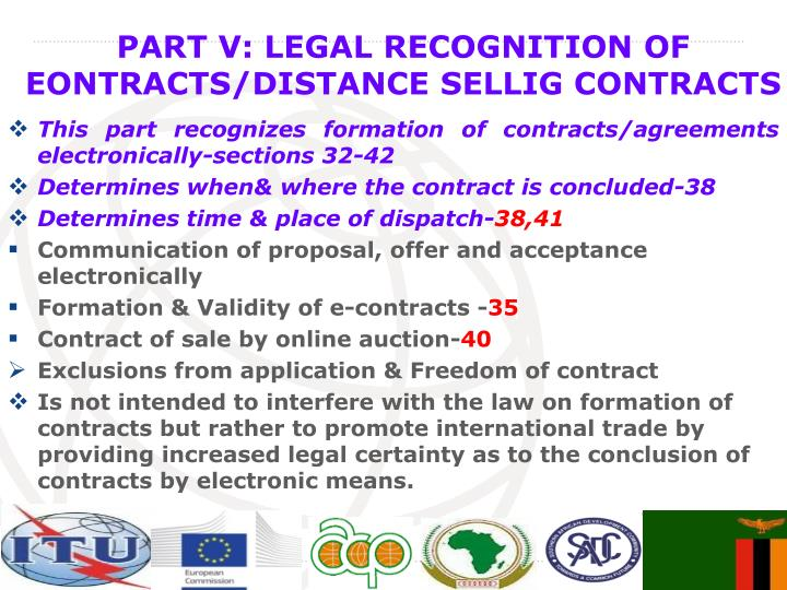 This part recognizes formation of contracts/agreements electronically-sections 32-42