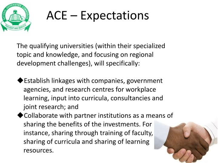 ACE – Expectations
