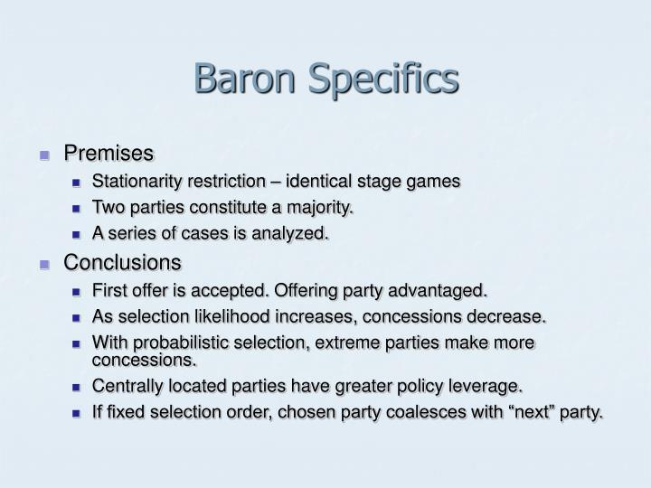 Baron Specifics
