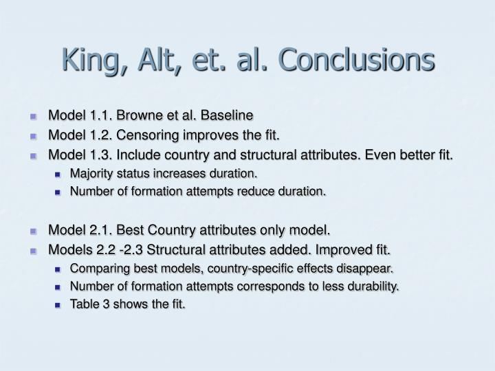 King, Alt, et. al. Conclusions