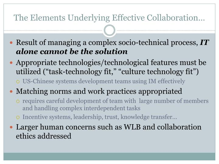 The Elements Underlying Effective Collaboration…