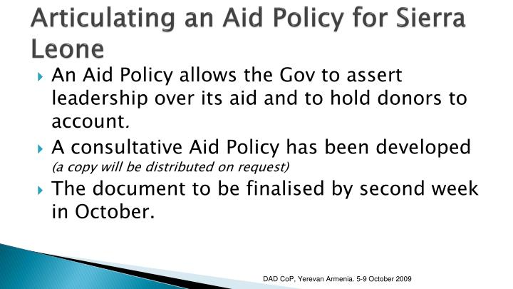Articulating an Aid Policy for Sierra Leone
