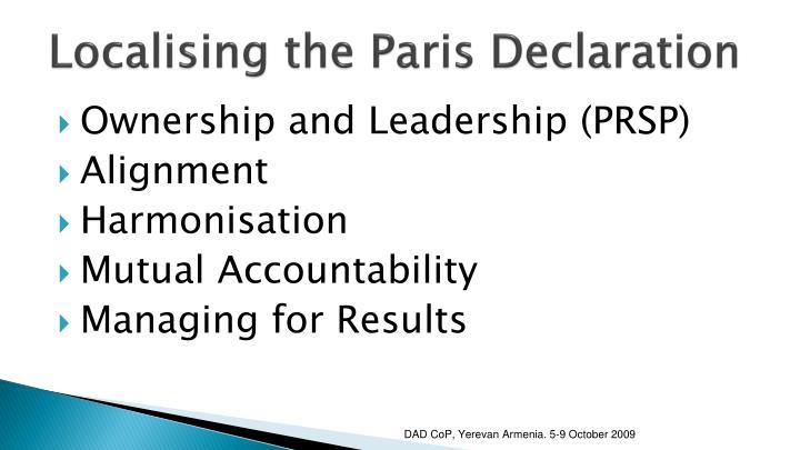 Localising the Paris Declaration