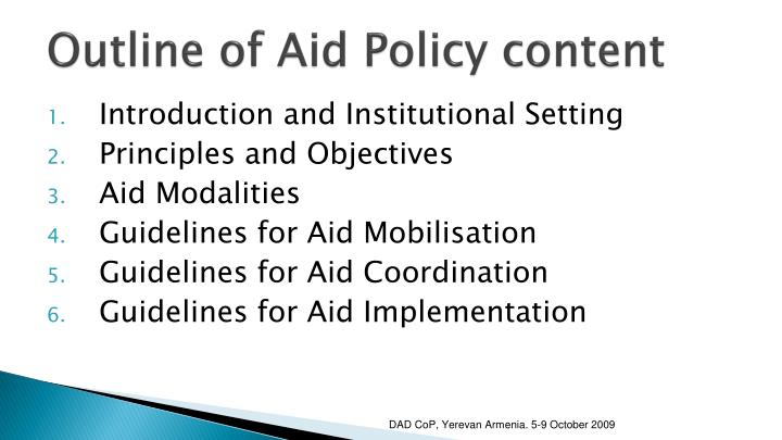 Outline of Aid Policy content