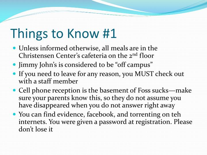 Things to Know #1