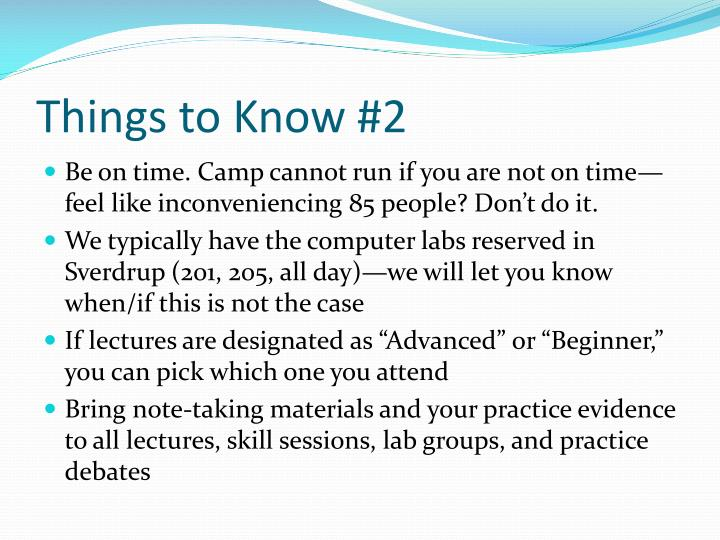 Things to Know #2