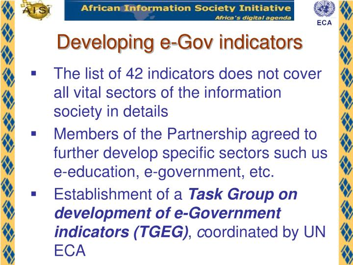 Developing e-Gov indicators