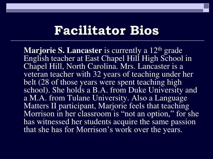 Facilitator Bios
