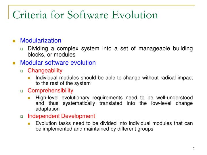 Criteria for Software Evolution