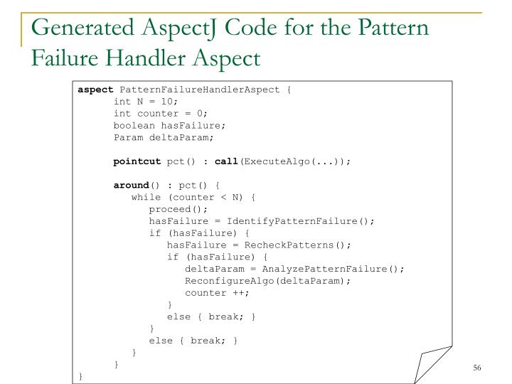 Generated AspectJ Code for the Pattern Failure Handler Aspect