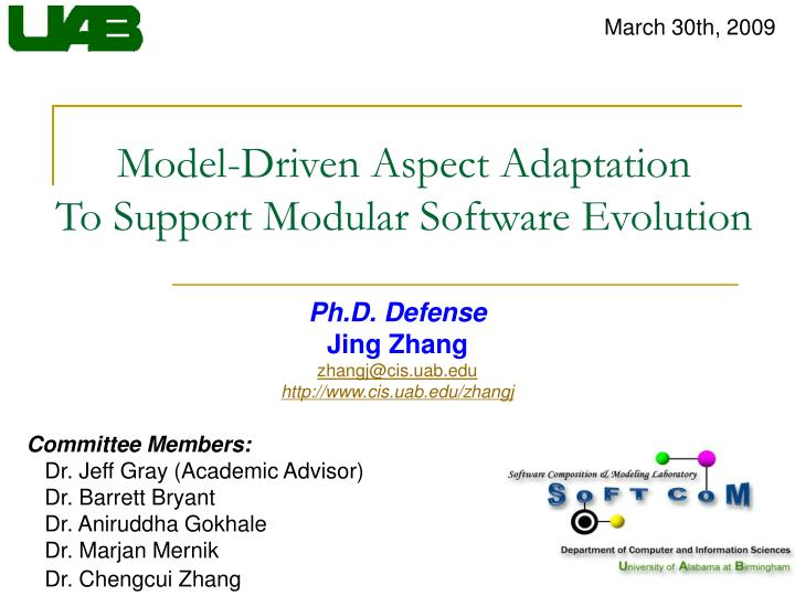 Model driven aspect adaptation to support modular software evolution
